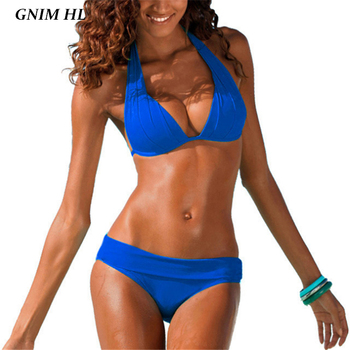 GNIM Backless Solid Swimsuit Female Two Piece Brazilian Biquini 2019 Push Up Bikini Swimwear Women Summer Beachwear Bathing Suit