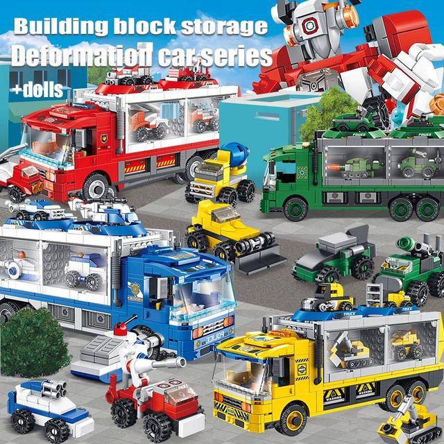 City Technic Fire Trucks Deformed Robot Building Blocks  Police City Construction Vehicle WW2 Car Bricks Toys For Boys