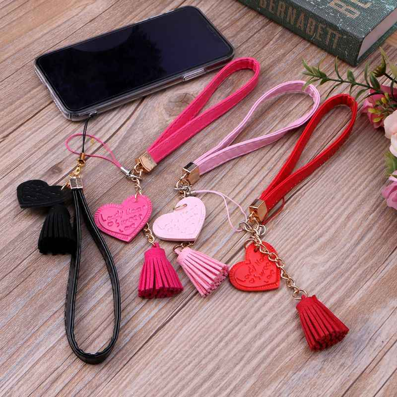 Love Heart Tassel Hand Wrist Lanyard Strap String for Phone iPhone 7 8 X 6 Samsung Xiaomi Camera USB Flash Drives Keychains