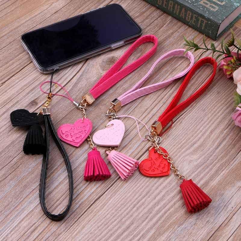 Amor corazón borla mano Correa cordón para teléfono iPhone 7 8X6 Samsung Xiaomi Cámara Flash USB unidades llaveros