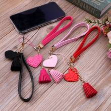 Love Heart Tassel Hand Wrist Lanyard Strap String for Phone iPhone 7 8 X 6 Samsung Xiaomi Camera USB Flash Drives Keychains(China)