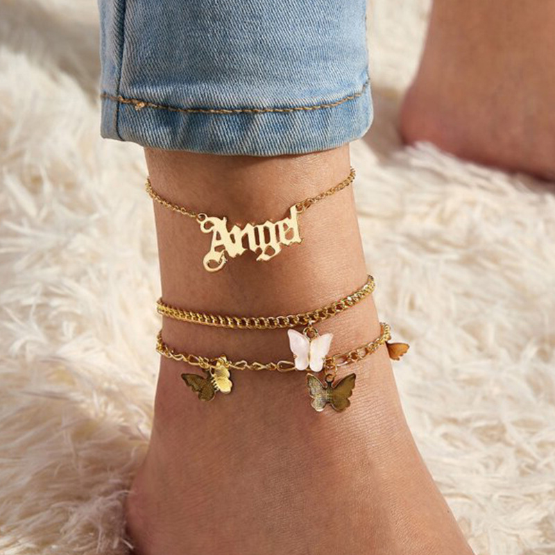 3Pcs/set Fashion Angel Butterfly Anklet For Women Bohemian Multilayer Chain Bracelet On Leg Summer Jewelry Foot Accessories