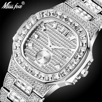MISSFOX Iced Out Watches Men Top Brand Luxury Watch Full Diamond Quartz-watch Bling Hiphop Hot Rappers Jewelry