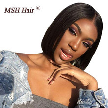 MSH Hair Short Bob Lace Front Wigs For Black Women Human Hair Wigs 4x4 Lace Closure Wigs Brazilian Straight Lace Front Wigs(China)