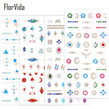 FlorVida New Style Beauty Nail Stickers AB Color 3D Sticker With Rhinestone Art Decorations