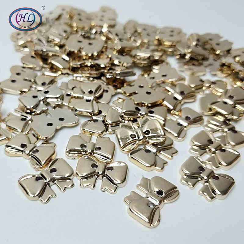 HL 17mm x 13mm 50pcs 2 Furos em Placas de Plástico Bowknot Vestuário Botões de Costura Acessórios Scrapbooking DIY Artesanato