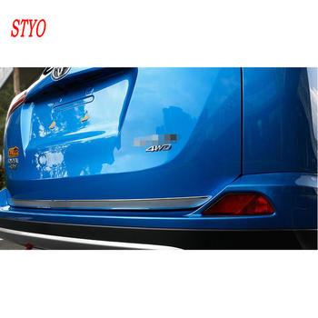 STYO Car Stainless Steel Rear Tailgate Trunk Lid Cover Trim For RAV4 2014 2015 2016 2017 2018 image