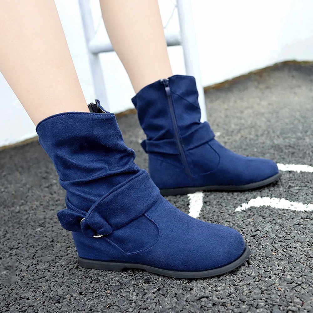 SAGACE 2019 nowych kobiet w połowie buty duże rozmiary buty na zamek w stylu Vintage kobiety płaskie botki miękkie buty stóp botki