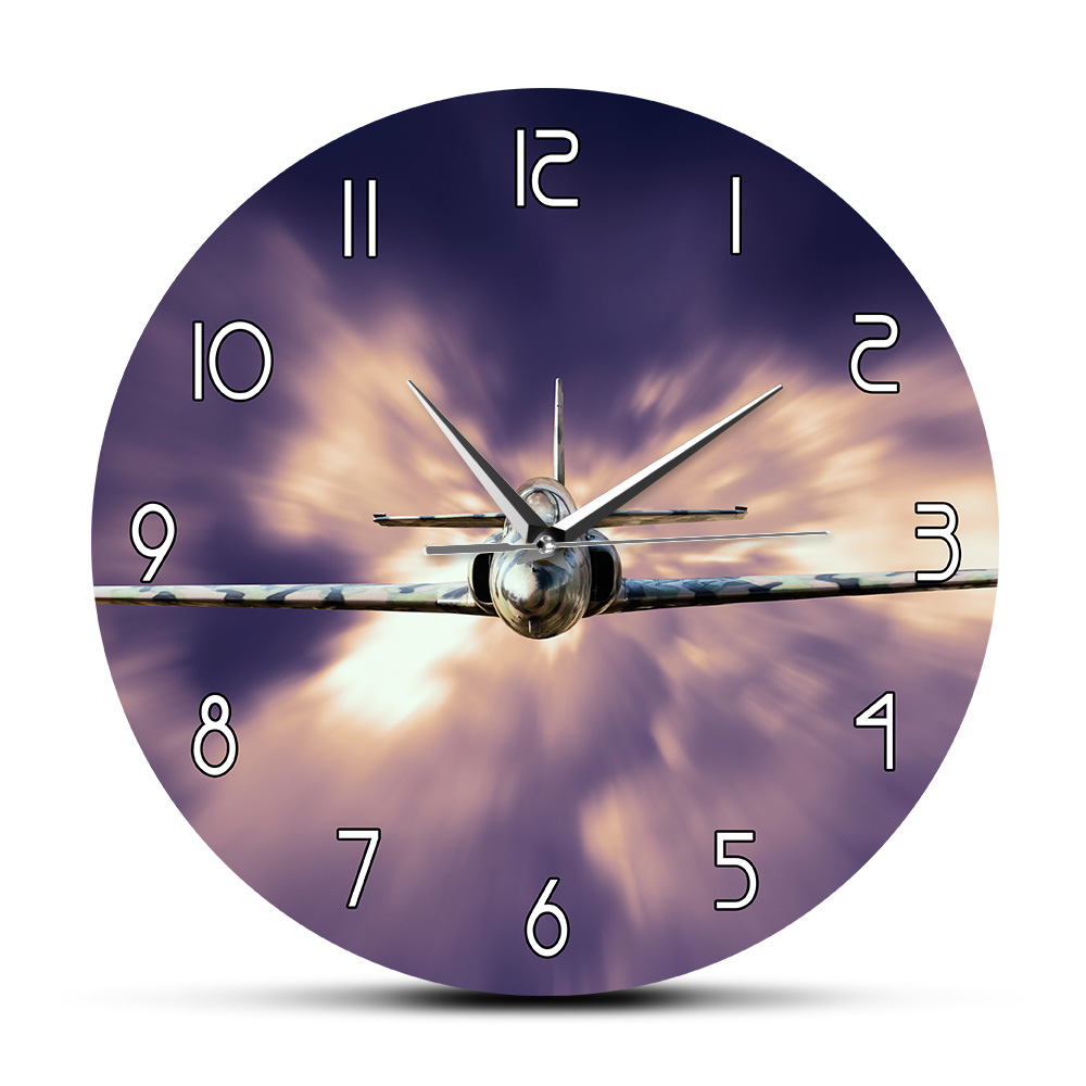 Military Jet Fighter Modern Wall Clock Airplane Flying Above The Clouds Wall Art Aviation Decorative Aircraft Silent Wall Watch