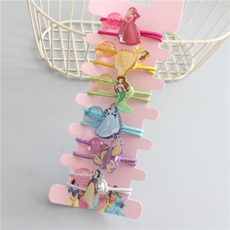 6 PCS New Cute Six Princesses Kids Elastic Hair Bands Baby Headdress Children Hair Ropes Girls Hair Accessories