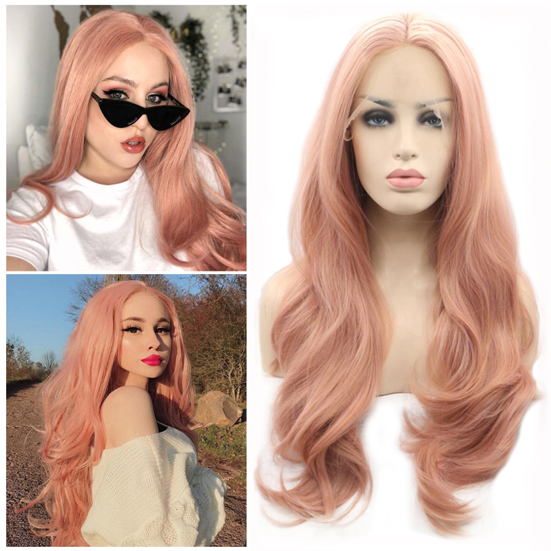 Gres Wavy Pink Lace Front Wig Synthetic Long Middle Part Wig with Baby Hair for White Women High Temperature Fiber