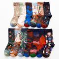 Женские длинные носки с мультяшным принтом, креативные модные персонализированные Новые мужские и женские носки, зимние теплые удобные хло...