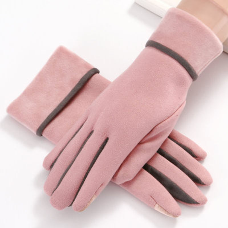 Women's Gloves Winter Suede Leather Touch Screen Gloves Fashion Warm Finger Gloves Flip And Velvet Thickening Driving Gloves E28