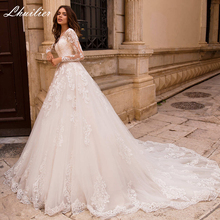 Wedding-Dresses Appliques Chapel Train Lace-Up Elegant Full-Sleeves Floor-Length A-Line