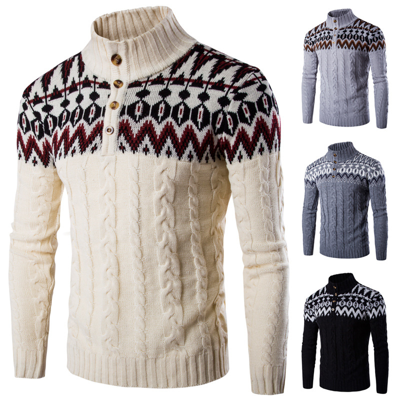 Mens Tops Slim Button Knitting Turtleneck Solid Pullover Sweaters Christmas Printed Thermal Winter Casual Twisted Knitwear
