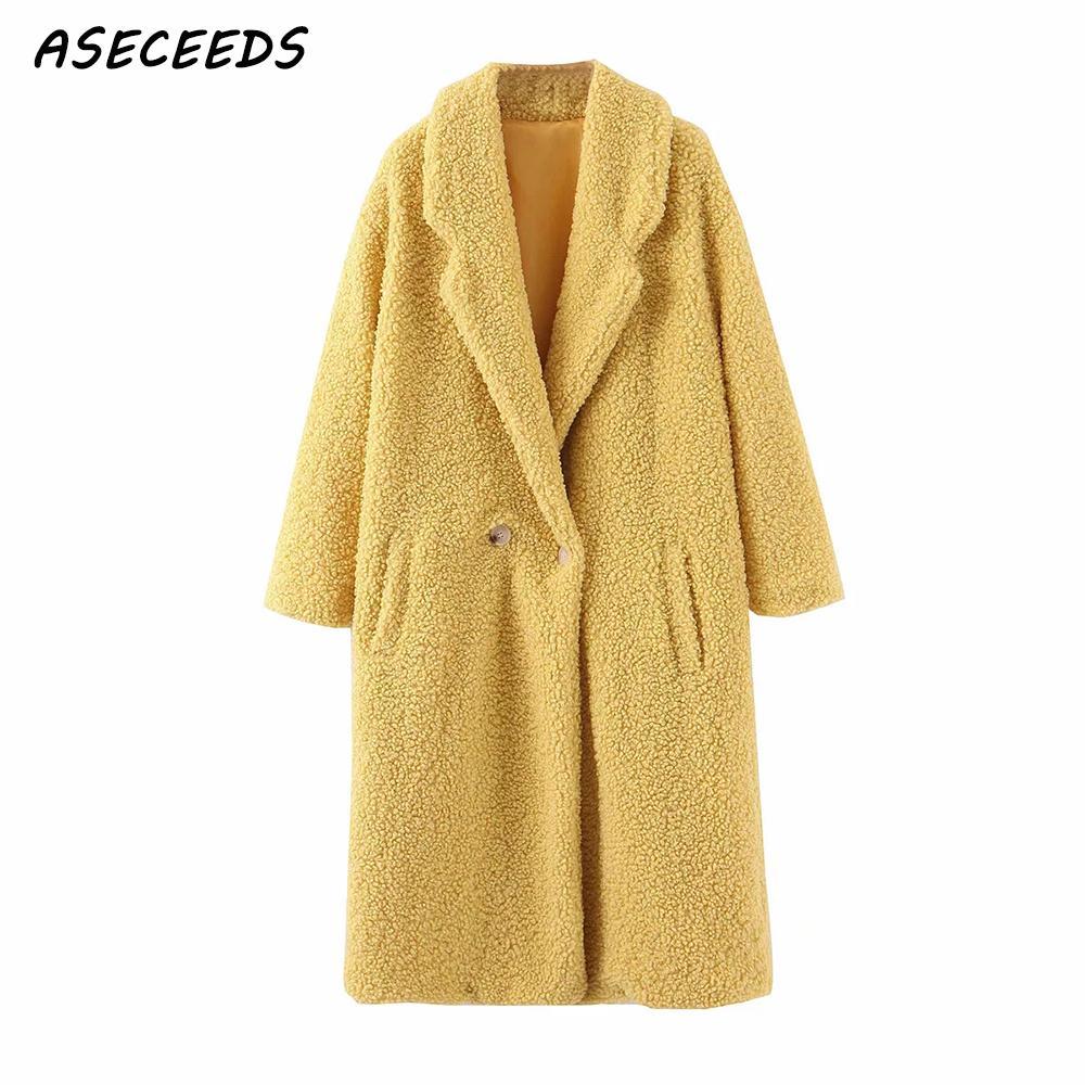 2019 Warm Winter Coat Women Kawaii Teddy Coat Vintage Yellow Faux Fur Coat Female Plus Size Furry Jacket Outerwear Streetwear