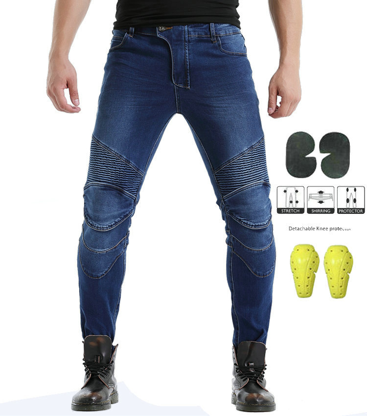 Cross Border For New With Ultra-stretch Riding Jeans Motorcycle Riding Locomotive Pants Straight-Cut Race Car Jeans