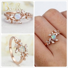 Vintage Opals Rings For Women Rose Gold Wedding Promise Ring Australia Gem Stone Crystal anillos Girl Gift Zircon Flower K5