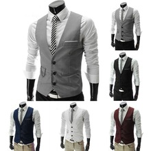 Vests Suit Dress Waistcoat Business-Jacket Wedding-Party Formal Male Casual Sleeveless