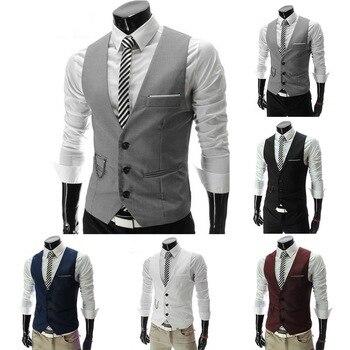 2020 Hot Men Formal Dress Suit Vests Slim Fit Men Suit Vest Male Wedding Party Waistcoat Homme Casual Sleeveless Business Jacket