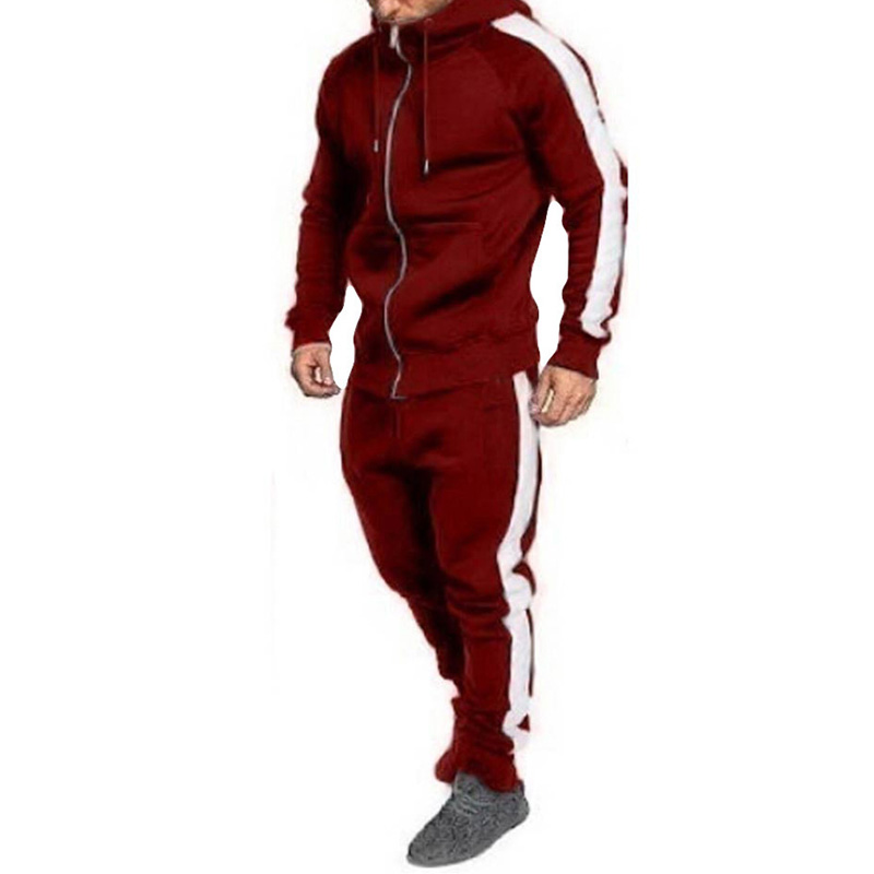 Men's Sets Zipper Pocket Hooded Coat Sports Tops And Pants Trousers New Fashion  Long Sleeve Sports Gym Male Suits