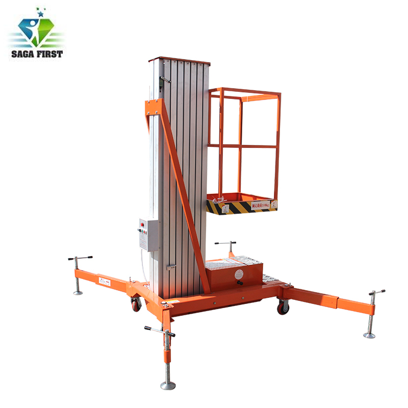 Hydraulic Platform Lifting  Single Post Aluminum Man Lift