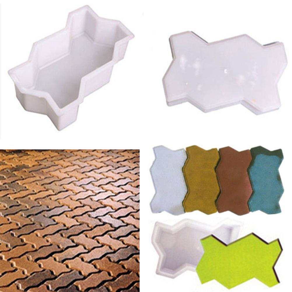 2Pcs Plastic Brick Mold Wave Shape Garden Walk Pavement Mold Garden DIY Walking Pathing Pavement Maker Floor Cement Brick Mold