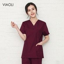 Однотонные хлопковые медицинские скрабы для хирургии, униформа медсестры для женщин, медицинская одежда, рубашка для салона красоты, рабочая одежда, топы для кормления