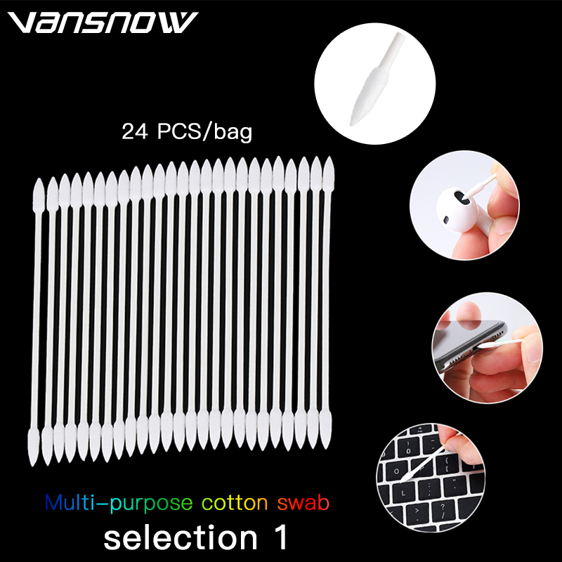 24PCS Cotton Disposable Swab For Airpods Airpod Case Cleaning Tool For AirPods Earphone Phone Charge Port For Airpods Cleaner