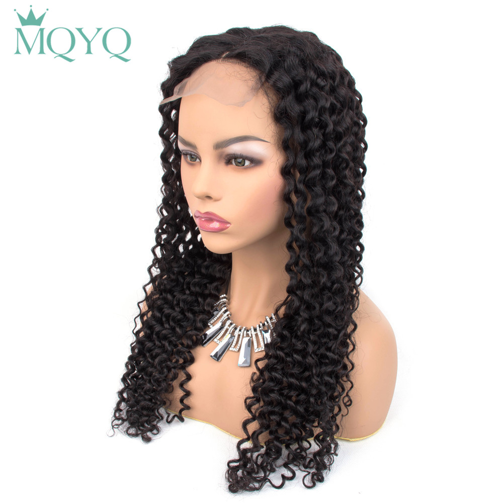 MQYQ Brazilian 4*4 Lace Closure Hair Wigs For Women Non Remy Hair Kinky Curly Lace Closure Wigs With Baby Hair Natural Color