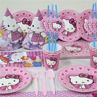 158Pcs/218Pcs Cartoon Hello Kitty Tableware Sets Kids Birthday Party Baby Shower Festival Celebrate Decoration Event Supplies