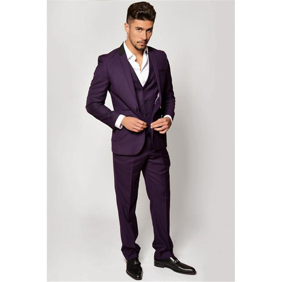 New Classic Men's Suit Smolking Noivo Terno Slim Fit Easculino Evening Suits For Men Dark Purple Smoking Party Prom Tuxedo Groom