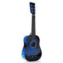 25 Polegada guitarra acústica 6 cordas crianças guitarra de madeira para iniciante stringed instrumento musical com picareta e corda