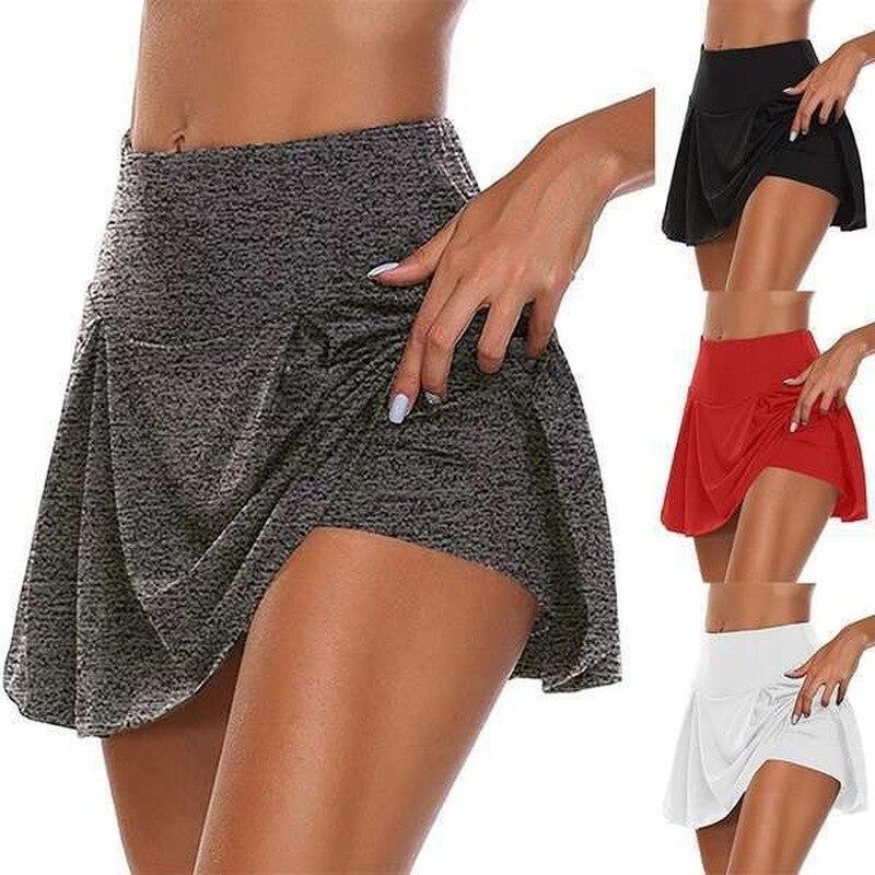 Женские повседневные однотонные двойные спортивные шорты, юбки, быстросохнущие леггинсы, короткая мини-юбка Hakama, 2020