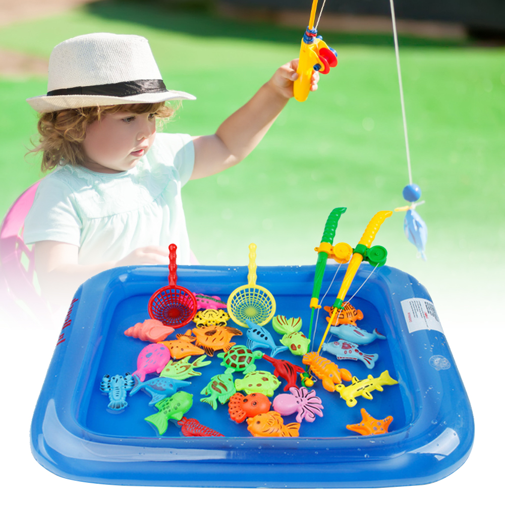 26PCS Floating Fishing Game Kids Bath Toys Fishing Magnetic Toys Inflatable Swimming Pool Bathtub Toy Set For Early Education