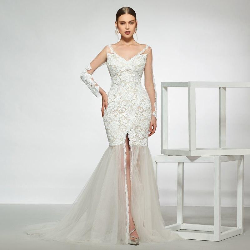 Dressv V Neck Wedding Dress Mermaid Long Sleeves Lace Zipper Up Floor Length Bridal Outdoor&church Wedding Dresses