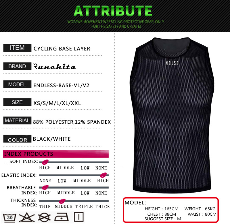 ENDLESS white and black Cycling Base 2020 men mesh base layer cobweb cycle breathable Sleeveless Bicycle Sport Shirt Underwear