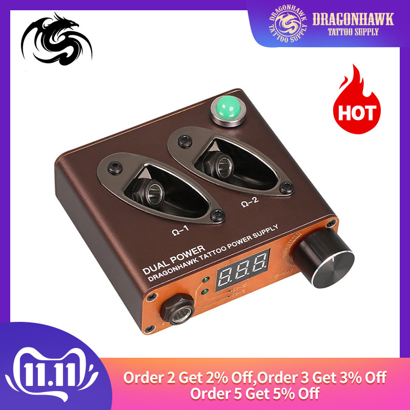New Design Mini Tattoo Power Box Supply Dragonhawk Dual Clip Cord For Machine