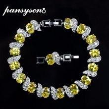 Pansysen роскошь цитрин с изумрудным браслеты из нержавеющей