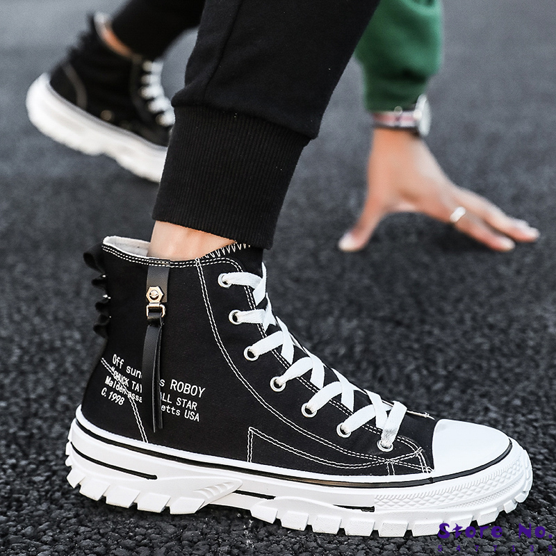 Mens Shoes Casual Men High-top Shoes 2020 Fashion Lace-up Breathable Canvas Sneakers Men Trainers Comfortable Chaussure Homme