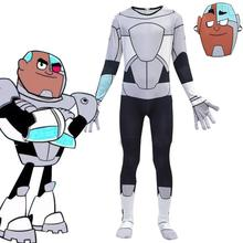 Anime Teen Titans Go Cyborg Cosplay Costume Bodysuit 3D Child Jumpsuit Halloween Party Costumefor Boys Girls