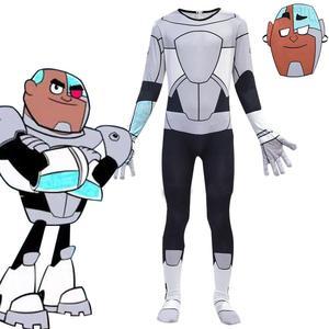 Image 1 - Anime Teen Titans Go Cyborg Cosplay Costume Bodysuit 3D Child Jumpsuit Halloween Party Costumefor Boys Girls