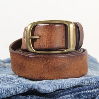 New Fashion Men's Leather Belt Leather Retro Handmade Belt Luxury Belt Genuine Leather Belt Jeans Wide Belt Men's Gift Harajuku 1