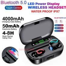 Q61 tws sem fio bluetooth 5.0 fones de ouvido ipx7 à prova dwaterproof água 3500mah caso de carregamento 9d fone estéreo display led