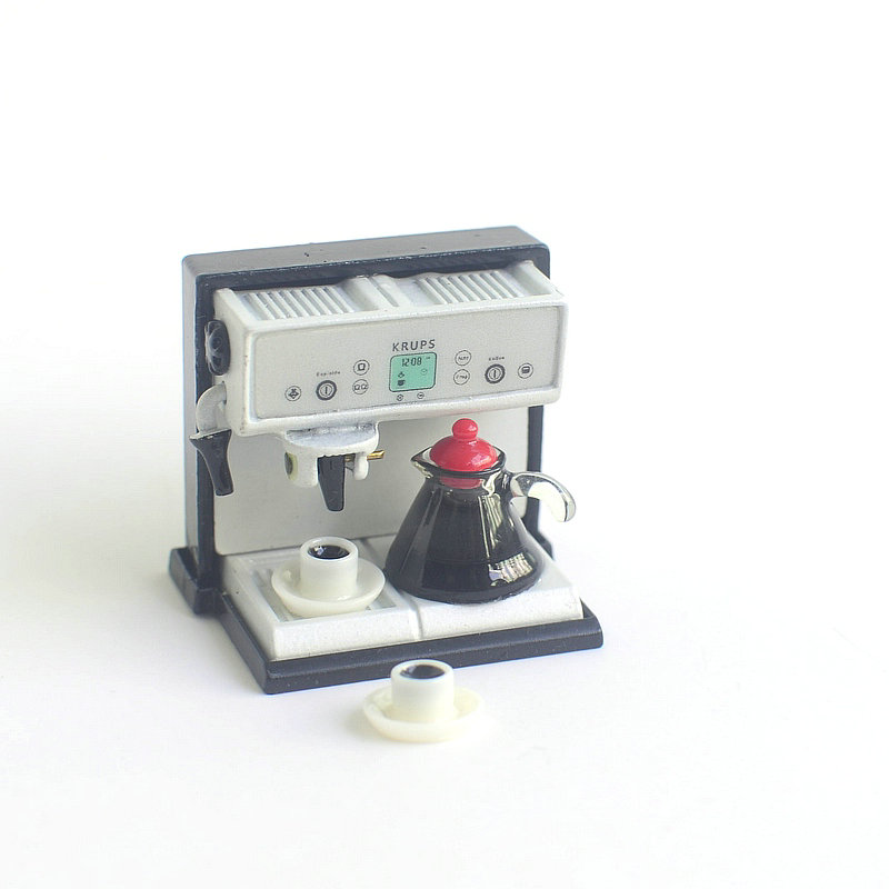Wholesale 1:12 Dollhouse Miniature Mini Coffee Machine Doll Accessories Furniture Toy Match New Collectible Gift (only Machine)