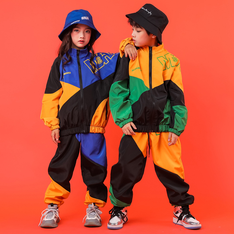 Kid Cool Hip Hop Clothing High Neck Color Block Jacket Top Coat Running Casual Pants For Girls Boys Jazz Dance Costumes Clothes