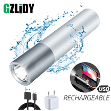 USB Rechargeable Simple creative LED Flashlight Aluminum alloy  3 lighting modes torch 200 meters illumination distance