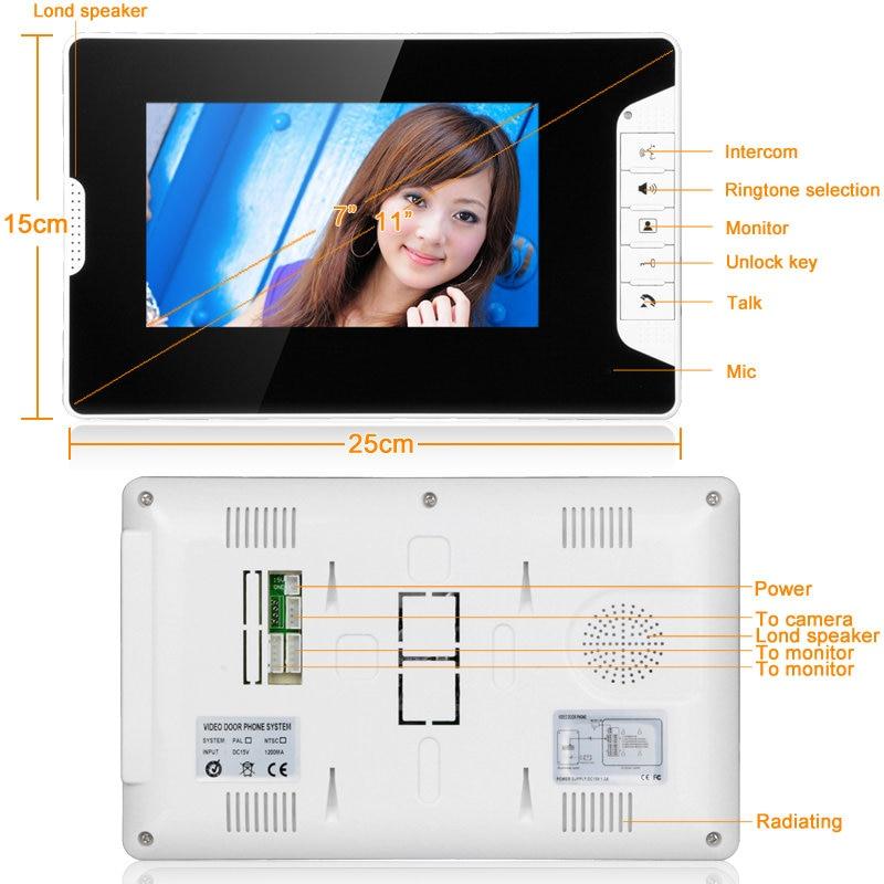 Video Door Intercom 7''Inch 2pc LCD Wired Video Door Phone Visual Video Intercom Doorbell Monitor Camera Kit For Home Security - 3