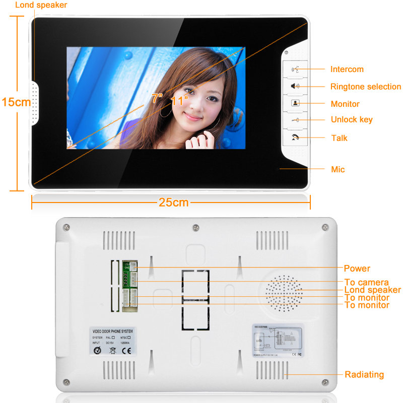 Video Tür Intercom 7''Inch 2pc LCD Verdrahtete Video Tür Telefon Visuelle Video Intercom Türklingel Monitor Kamera Kit Für Home sicherheit - 3