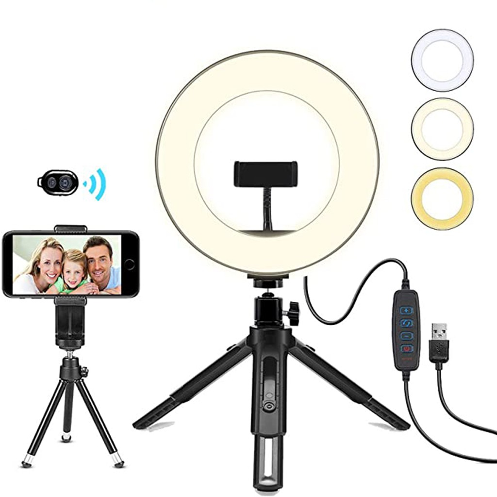 LED Ring USB Light 8inch 3 Color Modes Bluetooth Remote Control 10 Level Dimming Flash lens beauty Fill Light Lamp for Photo Camera